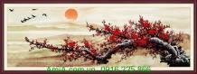 Tranh cành hoa đào ngày Tết in giả sơn dầu AmiA 1115