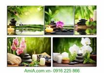 Tranh treo spa hoa phong lan ghép bộ 5 tấm AmiA 1118