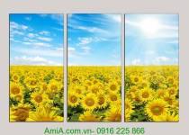 Tranh phong cảnh thiên nhiên đẹp: Đồng hoa hướng dương