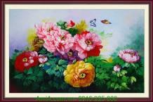 Tranh hoa mẫu đơn vẽ sơn dầu khổ 60x90cm TSD 156