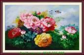 Tranh hoa mẫu đơn vẽ bằng sơn dầu khổ 60x90 TSD 158
