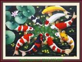 Tranh sơn dầu vẽ 9 cá chép hoa sen khổ 60x80 TSD 166