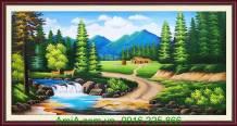 Tranh sơn dầu phong cảnh rừng núi thiên nhiên TSD 173