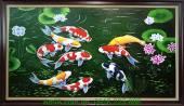 Tranh sơn dầu cá chép hoa sen AmiA TSD 208