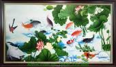 Tranh cá chép vẽ sơn dầu hoa sen AmiA TSD 209