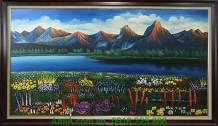 Tranh sơn thủy vẽ sơn dầu khổ lớn AmiA