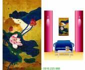 Tranh canvas đẹp: Khóm hoa sen AmiA 4101
