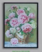 Tranh in vải canvas: Bình hoa mẫu đơn AmiA 4115