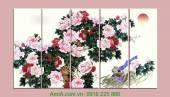 Tranh in vải canvas hoa điểu ghép bộ 5 tấm AmiA 4123