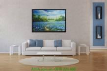 Tranh canvas phong cảnh đẹp đồng hoa xanh AmiA 4134