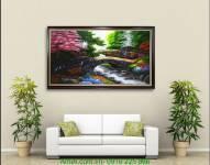 Tranh sơn dầu phong cảnh đẹp: Cây cầu đá TSD 110