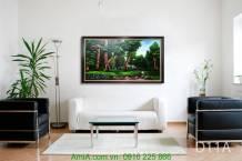 Tranh sơn dầu vẽ phong cảnh cây xanh thiên nhiên TSD 215