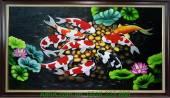 Tranh phong thủy cửu ngư quần hội vẽ sơn dầu TSD 217