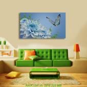 Tranh trang trí hoa bướm một tấm in ép gỗ AmiA 1129