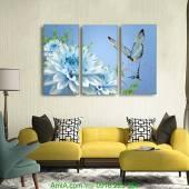 Tranh hoa thược dược màu xanh ghép bộ 3 tấm AmiA 1130