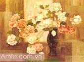 Tranh bình hoa hồng in vải canvas AmiA 4135
