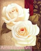 Tranh canvas đẹp hai bông hồng trắng AmiA 4140