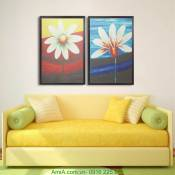 Tranh canvas ghép bộ hoa lá hai tấm AmiA 4136