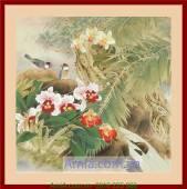 Tranh gốc hoa lan đẹp trang trí nội thất AmiA 4157