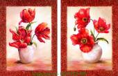Tranh bình hoa ghép bộ 2 tấm trang trí AmiA 4150-A
