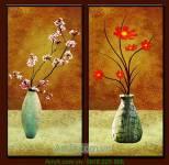 Tranh ghép bộ 2 bình hoa đẹp trang trí AmiA 4152