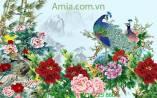Tranh phong thủy hoa mẫu đơn chim công AmiA 4153