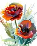 Tranh hoa poppy nghệ thuật trang trí AmiA 4154