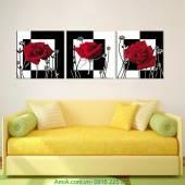 Tranh hoa hồng ghép bộ 3 tấm AmiA 931