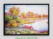 Tranh phong cảnh thiên nhiên đẹp: Bờ sông AmiA 4161