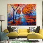 Tranh phong cảnh hàng cây lá đỏ AmiA 4181