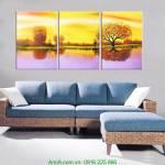 Tranh phong cảnh đẹp mùa Thu ghép bộ 3 tấm AmiA 4183