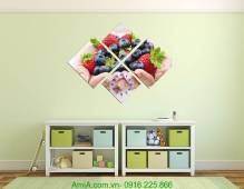 Tranh đồng hồ treo tường phòng ăn hoa quả AmiA 616