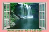 Tranh 3D cửa sổ thác nước đẹp AmiA 367