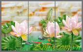 Tranh 3D hoa sen đá treo phòng khách, phòng ngủ AmiA 1132