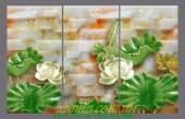 Tranh hoa sen 3D trên đá ghép bộ 3 tấm AmiA 1135