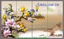 Tranh 3D hoa mộc lan dưới ánh trăng AmiA 1136
