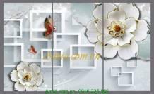 Tranh hoa bướm 3D chân thực sống động AmiA 1138