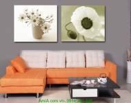 Tranh ghép bộ đơn sắc hoa lá hai tấm AmiA 2019