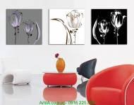Tranh hoa lá đen trắng ghép bộ 3 tấm AmiA 2025