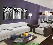 Tranh đen trắng hoa lá ghép bộ 3 tấm AmiA 2026