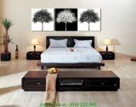 Tranh đen trắng ghép bộ 3 tấm cây hoa nghệ thuật AmiA 2029