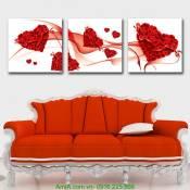 Tranh trái tim hoa hồng ghép bộ 3 tấm Amia 1158