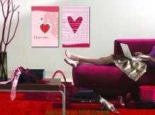 Tranh trái tim hồng 2 tấm Amia 1160