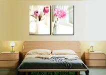 Tranh bình hoa màu hồng Amia 1161