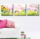Tranh treo phòng trẻ em: Khu vườn hoa bướm AmiA 1174