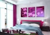 Bộ tranh hoa màu tím treo phòng ngủ AmiA 1183