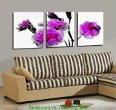 Tranh hoa cẩm chướng ghép bộ 3 tấm AmiA 1195