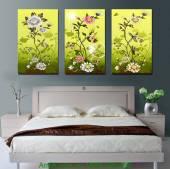 Tranh hoa nghệ thuật ghép bộ treo phòng ngủ