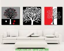 Tranh cây đời đa sắc ghép bộ 3 tấm AmiA 1208
