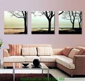 Tranh bộ 3 tấm cảnh thiên nhiên yên bình AmiA 1209